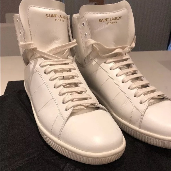 5442642ac19ff YSL High Top White Sneakers. M 5b60d72b9264af8fdf6f4fdd
